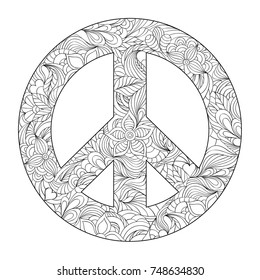 Hand drawn floral peace symbol on white background.Coloring page for adult.