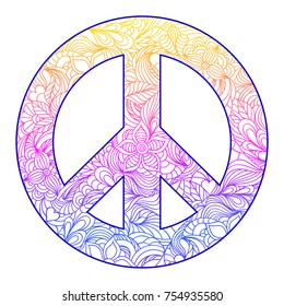 Hand drawn floral peace symbol on white background.