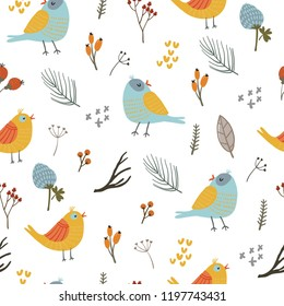 Hand drawn floral seamless pattern with birds