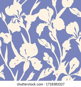 Hand drawn floral seamless pattern. Silhouettes of blooming iris flowers. Simple summer background with botanical shadows texture. Trendy nature ornament.