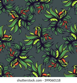 Hand drawn floral seamless pattern with bird. Vector line art.