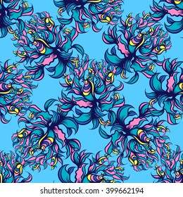 Hand drawn floral seamless pattern with birds. Vector line art.