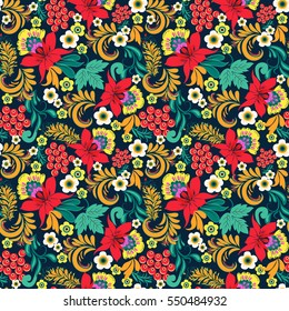 Hand drawn Floral seamless pattern in traditional russian style Hohloma traditional ornaments  background.