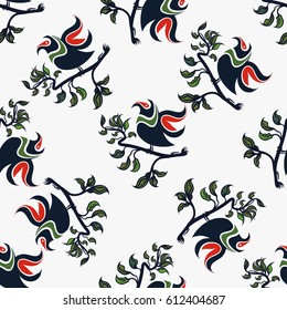 Hand drawn floral seamless pattern with bird on a branch. Vector line art.