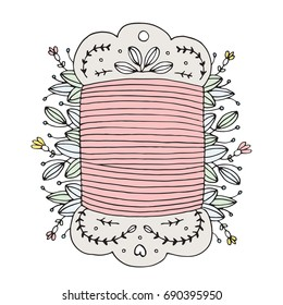 Hand Drawn Floral Thread Card Sewing Vector