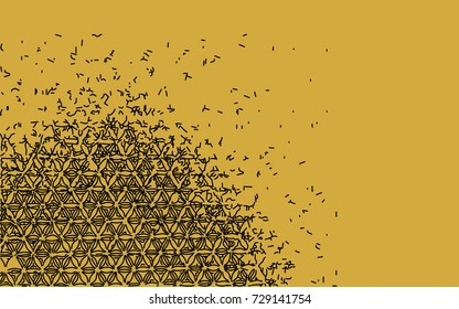 Hand drawn floral vector pattern with deconstructing lines, abstract on gold background, disintegrating and flying away in the wind.