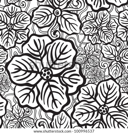 Hand Drawn Floral Wallpaper Black White Stock Vector Royalty Free
