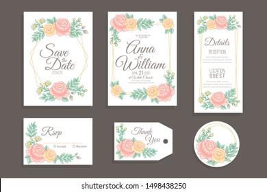 Hand Drawn Floral Wedding Invitation Set Vector