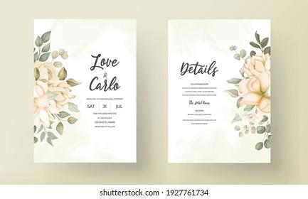 Hand drawn floral wedding invitation card template
