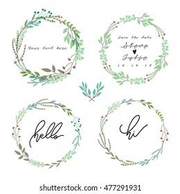 Hand drawn Floral  Wedding set
