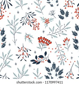 Hand drawn floral winter seamless pattern with christmas tree branches and berries. Vector illustration background