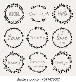 Hand drawn floral wreath with lettering Wedding, Love, Save the Date, Thank you. Boho style design elements for invitations, greeting cards, quotes, blogs, posters. Vector illustration