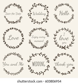 Hand drawn floral wreath with lettering Wedding, Love, Save the Date, Thank you. Boho style design elements for invitations, greeting cards, quotes, blogs, posters. Vector vintage illustration