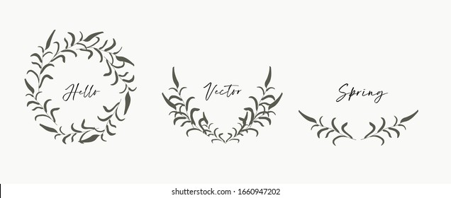 Hand drawn floral wreath, monograms. Boho style design elements for wedding invitations, greeting cards, quotes, blogs, posters. Isolated vector illustration.