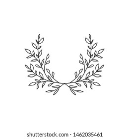 Hand drawn floral wreath on white background