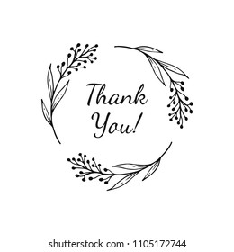 Hand drawn floral wreath with text - thank you