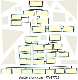 Hand drawn flowchart for family trees or business