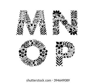 hand drawn flower alphabet, flower decorative typography, decorative font, trend lettering M,N,O,P