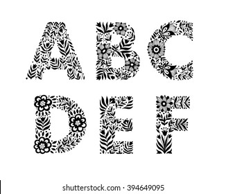hand drawn flower alphabet, flower decorative typography, decorative font, trend lettering A,B.C,D,E,F
