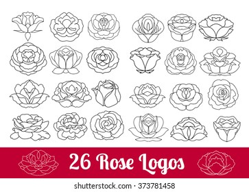 Hand drawn flower black silhouette and flat icon vector set, rose collection isolated on white background, rose logo, sign, symbol outline collection. Rose flowers huge design thin line modern icons