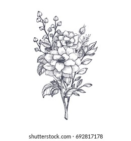 Hand drawn flower bouquet in sketch style. Vector plants.