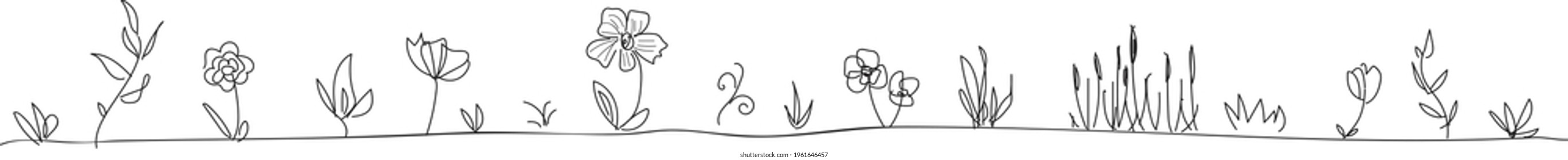 Hand drawn flower and branches divider in black and white, flora doodle vector divider, simple flora divider for wedding decoration, floral tattoo art, floral design border or footer