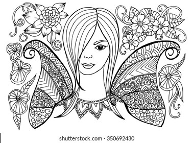 Hand drawn flower fairy with doodle floral pattern for coloring