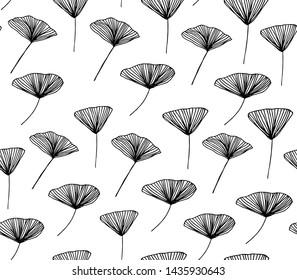 Hand drawn flower seamless pattern. Vector illustration. Ginkgo biloba
