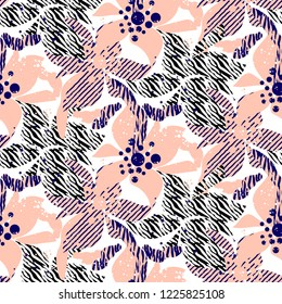 Hand drawn flower seamless vector pattern in rosy and blue colors.