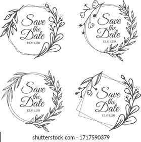hand drawn flower wedding frame