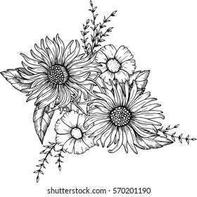Hand drawn flowers for the anti stress coloring page.