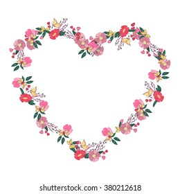 Hand drawn Flowers arranged un a shape of  heart. Wildflowers vector wreath