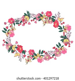 Hand drawn Flowers arranged un a shape of  oval wreath. Wildflowers vector