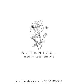 Hand Drawn Flowers with bee Logo Template for Botanical Logo, Farm or Flowers Shop
