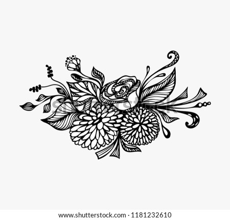 Hand Drawn Flowers Bouquet Black On Stock Vector Royalty Free