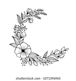Hand drawn flowers and leaves line art. Freehand sketching plants illustration black and white background for greeting card