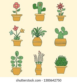 hand drawn flowers in pots illustration vector