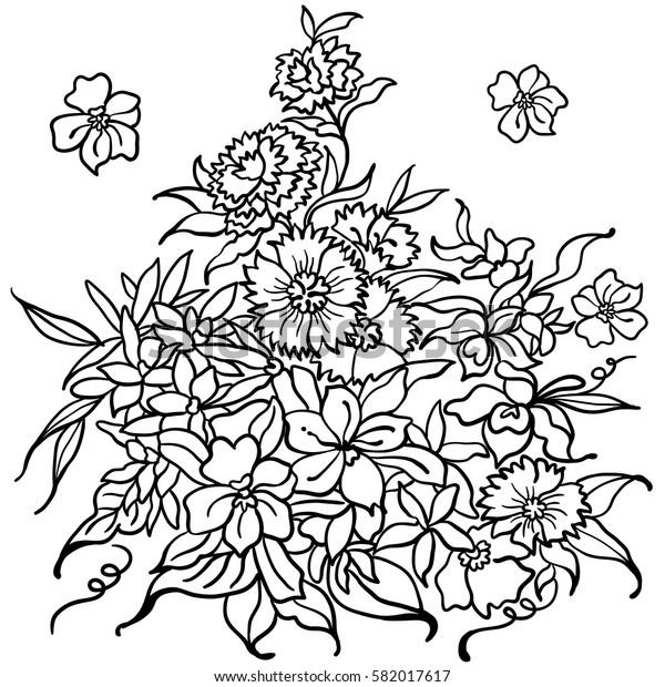 Hand drawn flowers vector set