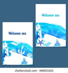 Hand drawn flyers with things on theme sea. Vector illustration