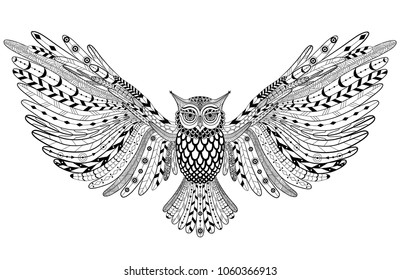 Hand drawn flying Owl. Zentangle art. Vector illustration for print, tattoo, postcard.