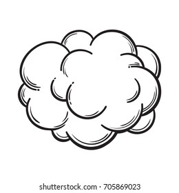 Hand drawn fog, smoke cloud, black and white comic style sketch vector illustration isolated on white background.