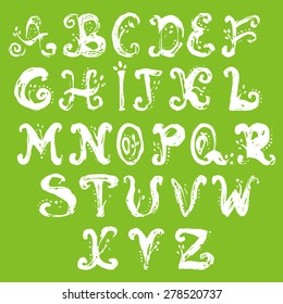Hand drawn foliage alphabet.Vector