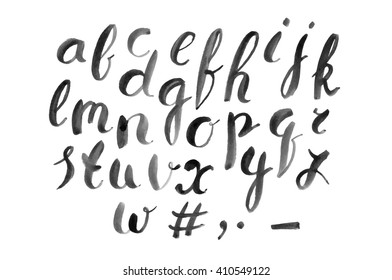 Hand drawn font. Brush painted. Stock vector.