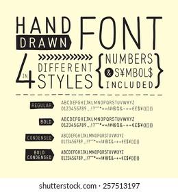 Hand drawn font / handwritten alphabet  - vector illustration