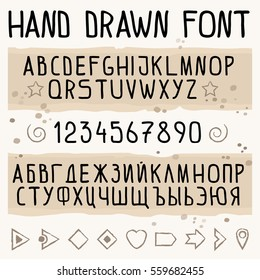 Hand drawn font with latin and cyrillic (Russian) symbols. Font with numbers. English and Russian alphabets. Script fonts. lettering vector illustration.