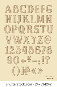 hand drawn font on vintage paper