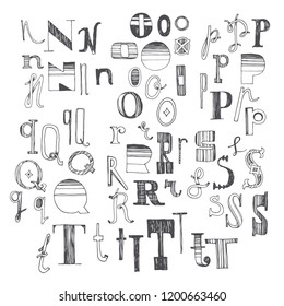 Hand drawn font with several variants of letters. N, O, P, Q, R, S and T. Part 3 of doodle anonymous alphabet