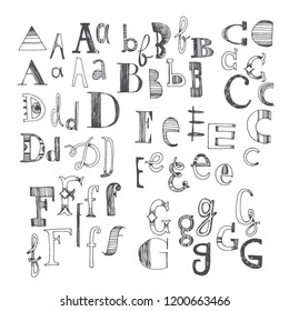 Hand drawn font with several variants of letters. A, B, C, D, E, F and G. Part 1 of doodle anonymous alphabet