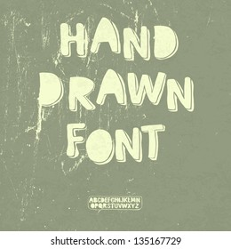 Hand drawn font with shadow. Vector