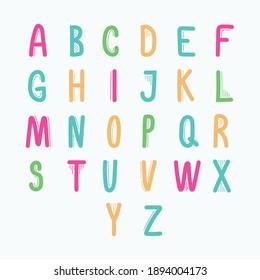 Hand drawn font style alphabet with line elements. Sans Serif. Drawn by digital pen.
